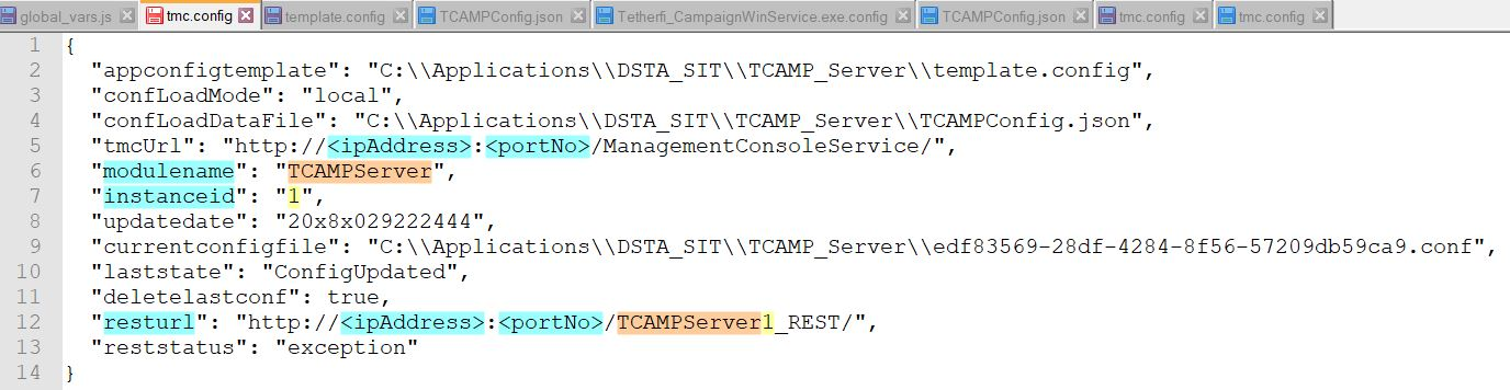 Service Endpoint for tmc config file highlighting REST endpoint